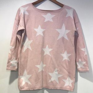 Relativity Pink With White Stars Sweater Sz Small